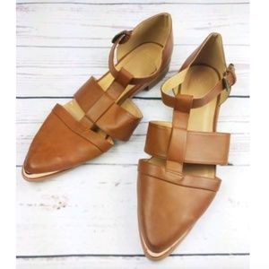 ASOS Sandals 9 Brown Gold Pointed Toe Ankle Buckle